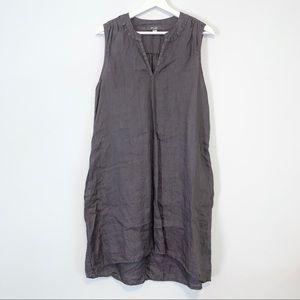 Dylan purple linen sleeveless shift dress pockets